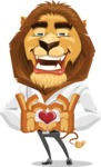Business Lion Vector Cartoon Character AKA Lionello - Romantic Lion Cartoon Character Graphic