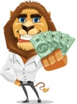 Business Lion Vector Cartoon Character AKA Lionello - Show me the Money