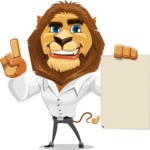 Business Lion Vector Cartoon Character AKA Lionello - Sign 2