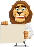 Business Lion Vector Cartoon Character AKA Lionello - Sign 3