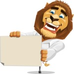 Business Lion Vector Cartoon Character AKA Lionello - Sign 4