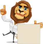 Business Lion Vector Cartoon Character AKA Lionello - Sign 7