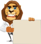 Business Lion Vector Cartoon Character AKA Lionello - Sign 8