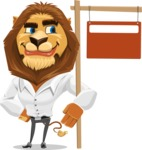 Business Lion Vector Cartoon Character AKA Lionello - Sign 9