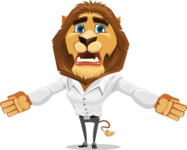 Business Lion Vector Cartoon Character AKA Lionello - Stunned