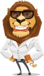 Business Lion Vector Cartoon Character AKA Lionello - Sunglasses