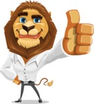 Business Lion Vector Cartoon Character AKA Lionello - Thumbs Up