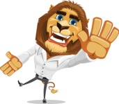 Business Lion Vector Cartoon Character AKA Lionello - Wave