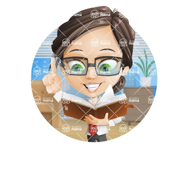 Little Business Girl Cartoon Vector Character AKA Nikki the Cute Geeky - Shape2