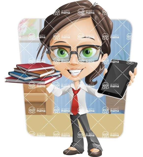 Little Business Girl Cartoon Vector Character AKA Nikki the Cute Geeky - Shape6