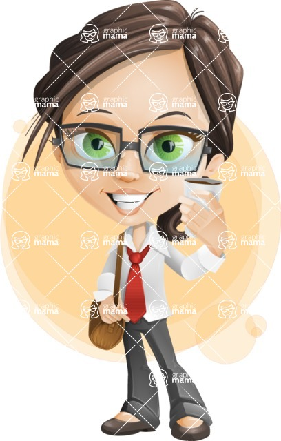 Little Business Girl Cartoon Vector Character AKA Nikki the Cute Geeky - Shape7