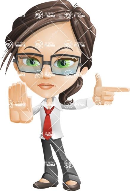 Little Business Girl Cartoon Vector Character AKA Nikki the Cute Geeky - Direct Attention