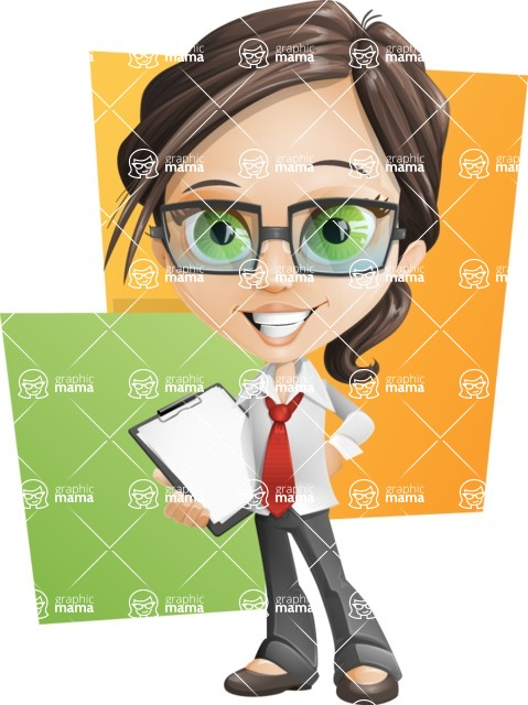 Little Business Girl Cartoon Vector Character AKA Nikki the Cute Geeky - Shape10