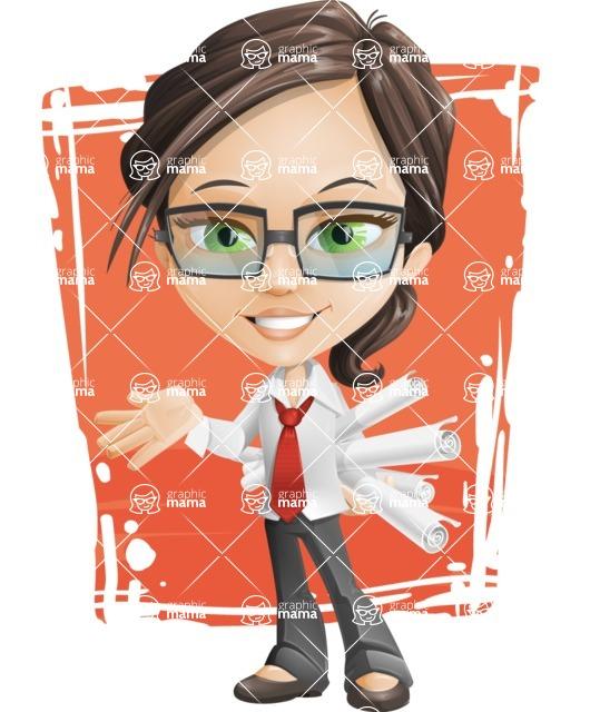 Little Business Girl Cartoon Vector Character AKA Nikki the Cute Geeky - Shape11