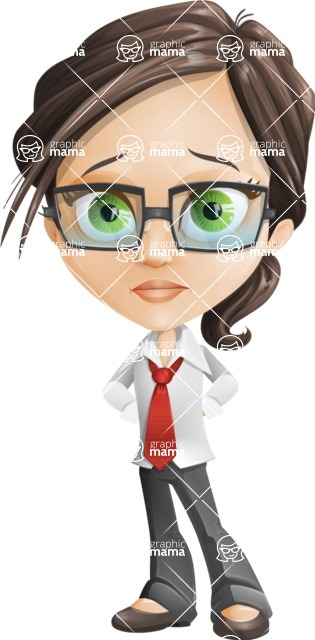 woman vector female cartoon character - Nikki - Sad