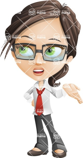Little Business Girl Cartoon Vector Character AKA Nikki the Cute Geeky - Roll Eyes