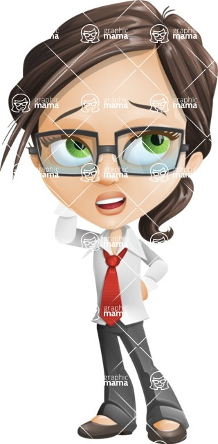 woman vector female cartoon character - Nikki - Confused