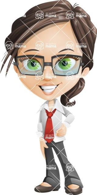 Little Business Girl Cartoon Vector Character AKA Nikki the Cute Geeky - Patient