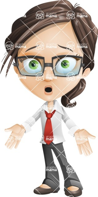 Little Business Girl Cartoon Vector Character AKA Nikki the Cute Geeky - Blank