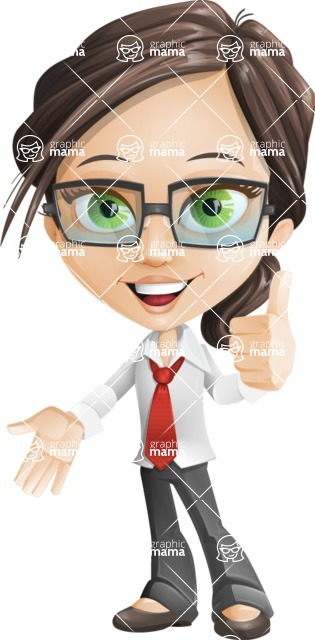 woman vector female cartoon character - Nikki - Thumbs Up