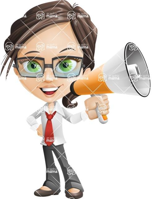 woman vector female cartoon character - Nikki - Loudspeaker