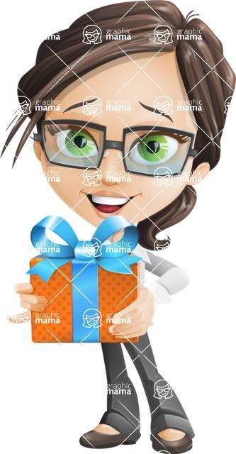 woman vector female cartoon character - Nikki - Gift