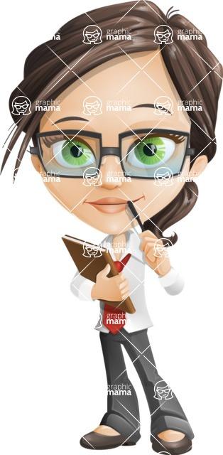 Little Business Girl Cartoon Vector Character AKA Nikki the Cute Geeky - Book1