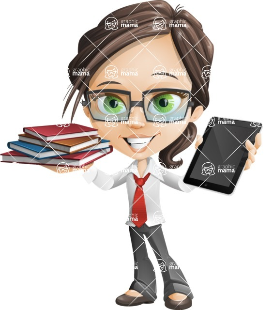 woman vector female cartoon character - Nikki - Book and iPad