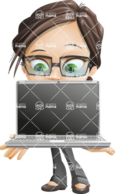 Little Business Girl Cartoon Vector Character AKA Nikki the Cute Geeky - Laptop3