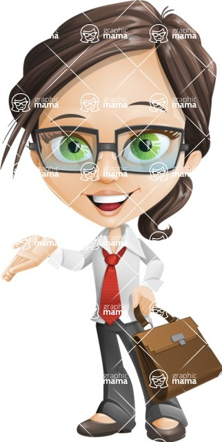 woman vector female cartoon character - Nikki - Briefcase2