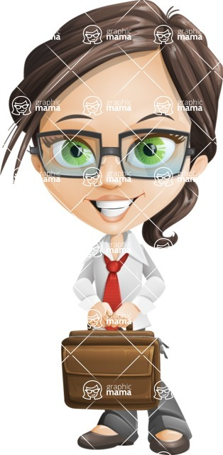 woman vector female cartoon character - Nikki - Briefcase3