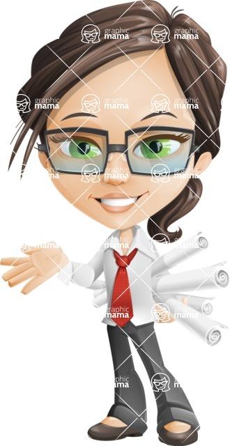 Little Business Girl Cartoon Vector Character AKA Nikki the Cute Geeky - Plans
