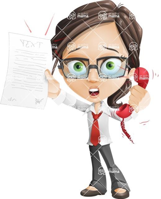 Little Business Girl Cartoon Vector Character AKA Nikki the Cute Geeky - Office Fever