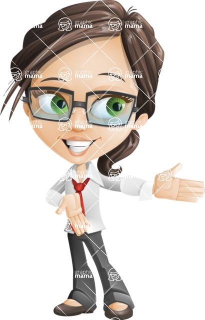 Little Business Girl Cartoon Vector Character AKA Nikki the Cute Geeky - Show2