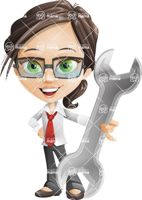 woman vector female cartoon character - Nikki - Repair