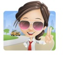 Little Business Girl Cartoon Vector Character AKA Nikki the Cute Geeky - Shape1