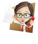 Little Business Girl Cartoon Vector Character AKA Nikki the Cute Geeky - Shape3