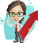 Little Business Girl Cartoon Vector Character AKA Nikki the Cute Geeky - Shape8