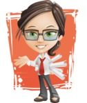 Little Business Girl Cartoon Vector Character AKA Nikki the Cute Geeky - Shape11
