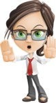 Little Business Girl Cartoon Vector Character AKA Nikki the Cute Geeky - Stop2