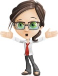 Little Business Girl Cartoon Vector Character AKA Nikki the Cute Geeky - Shocked