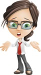 Little Business Girl Cartoon Vector Character AKA Nikki the Cute Geeky - Lost