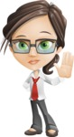 Little Business Girl Cartoon Vector Character AKA Nikki the Cute Geeky - Goodbye