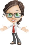 Little Business Girl Cartoon Vector Character AKA Nikki the Cute Geeky - woman vector female cartoon character design - hello