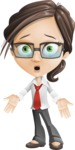 Little Business Girl Cartoon Vector Character AKA Nikki the Cute Geeky - Blank