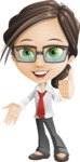 Little Business Girl Cartoon Vector Character AKA Nikki the Cute Geeky - Thumbs Up