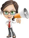 Little Business Girl Cartoon Vector Character AKA Nikki the Cute Geeky - Loudspeaker