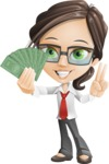 Little Business Girl Cartoon Vector Character AKA Nikki the Cute Geeky - woman vector female cartoon character design - show me the money graphic