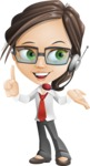 Little Business Girl Cartoon Vector Character AKA Nikki the Cute Geeky - woman vector female cartoon character design - customer support