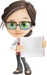 Little Business Girl Cartoon Vector Character AKA Nikki the Cute Geeky - Letter